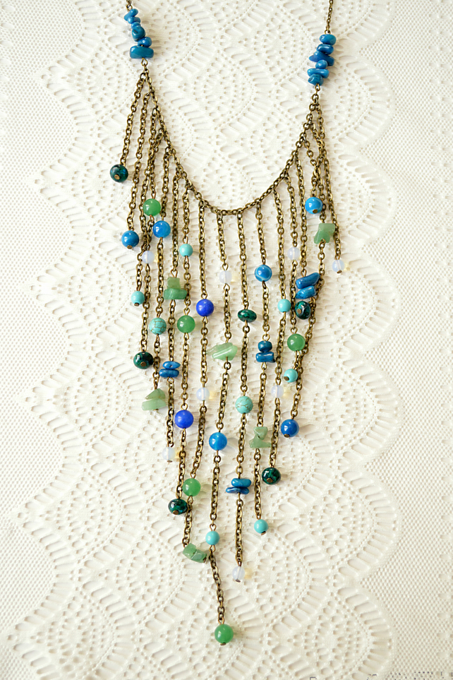 Statement Waterfall Necklace in Shades of Blue & Green