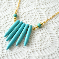 Sale! 50% off! Turquoise Spike Necklace