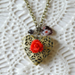 Heart Locket with Red Rose