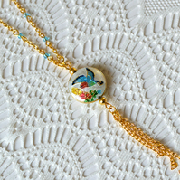 Sale! 50% off! White Cloisonne Bead Necklace
