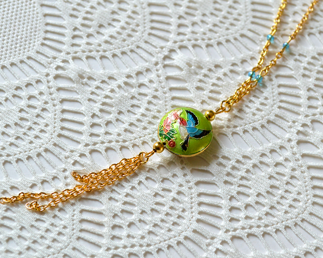 Sale! 50% off! Green Cloisonne Bead Necklace