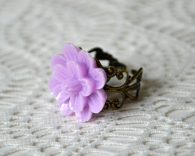 Sale! 20% off! Purple Flower Ring