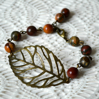 Bracelet with Jasper and Bronze Leaf