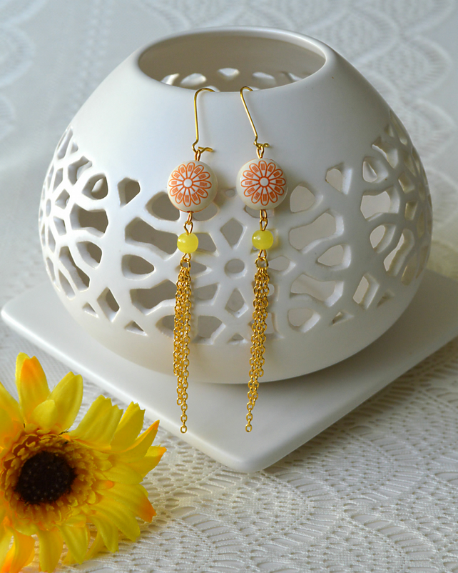Sale! 50% off! Elegant & Summery Earrings in Orange & Yellow