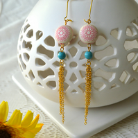 Sale! 50% off! Long, Summery Earrings in Pink and Turquoise