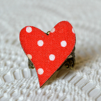 Statement Ring with Red Decoupage Heart