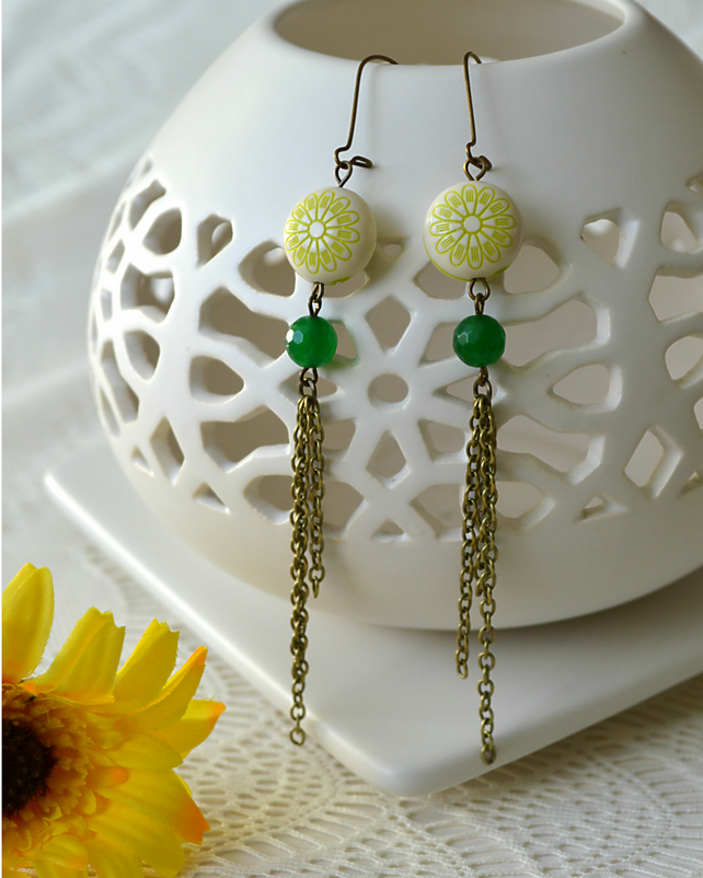 Sale! 50% off! Long, Summery Earrings in Green & Bronze