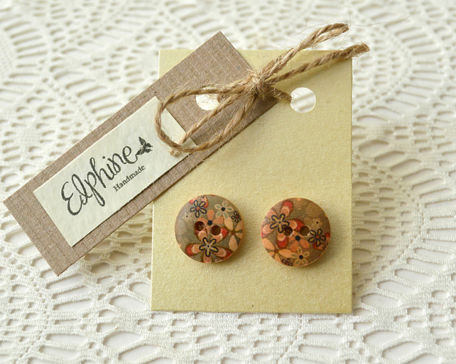 Wooden Button Earrings with Green & Pink Flower Design