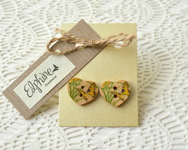 Heart Shaped Button Earrings with Butterflies