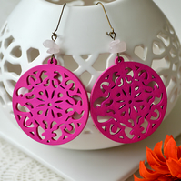 Bright Pink Filigree Wooden Earrings
