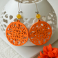 Statement Earrings with Orange Filigree Wooden Shapes