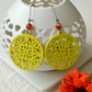 Long Earrings with Yellow Filigree Wooden Shapes