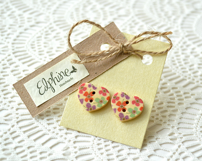 Heart Shaped Wooden Button Earrings