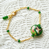 Sale! 50% off! Cloisonne Bird Bead Bracelet