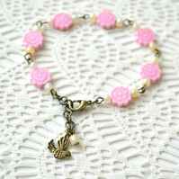 50% off! Pink Flowery Beaded Bracelet