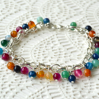 Multi-coloured Agate Charm Bracelet