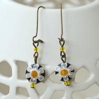 Sale 50% off! Black & White Millefiori Earrings