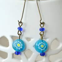 Sale 50% off! Cute Blue Millefiori Earrings