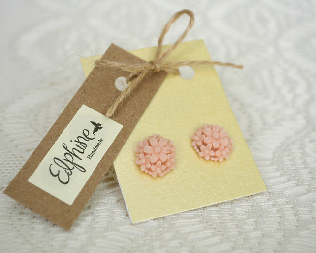 Stud Earrings with Pale Pink Flower Clusters