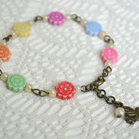 Sale! 50% off! Multi-coloured Pretty Flower Bracelet
