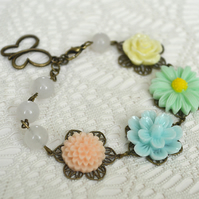 Sale 20% off! Pastel Flower Bracelet