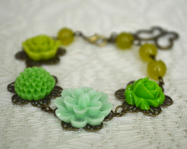Sale 50% Off! Shades of Green Floral Bracelet