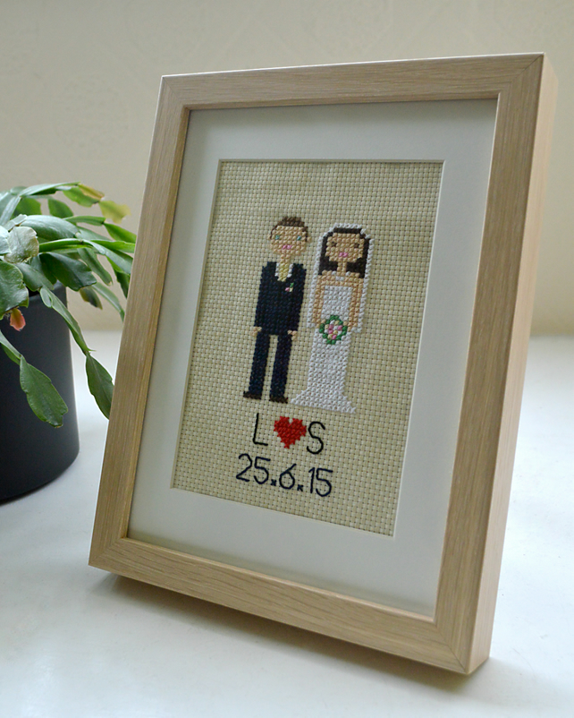 Custom-made Cross Stitch Portrait (2 People, Framed)