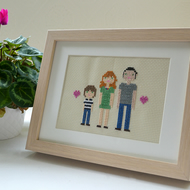 Custom-made Cross Stitch Portrait (3 people, framed)