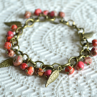 Autumnal Jasper and Leaf Charm Bracelet