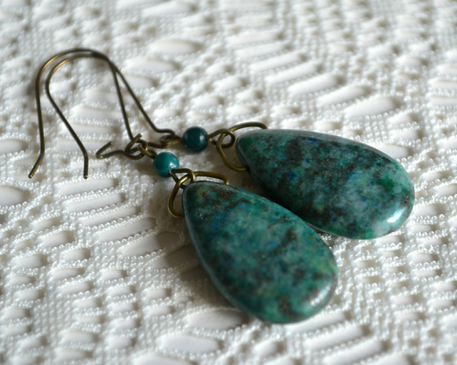 Lapis Lazuli Pyrite Teardrop Earrings