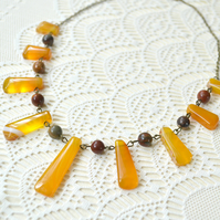 Honey Yellow Agate Fan Necklace