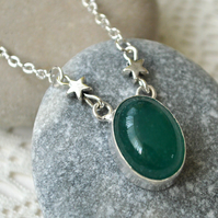 Raw Emerald & Silver Star Necklace