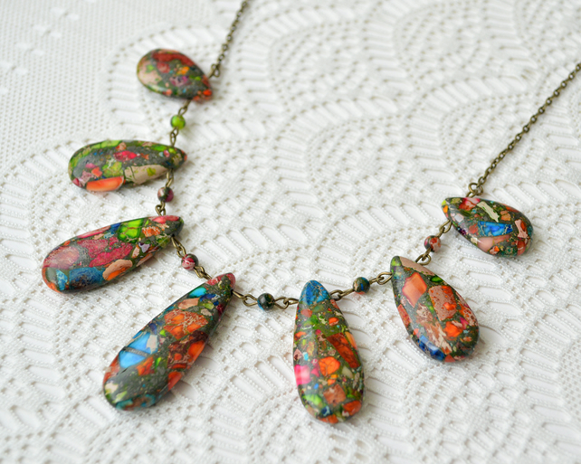 Rainbow Jasper Teardrop Necklace