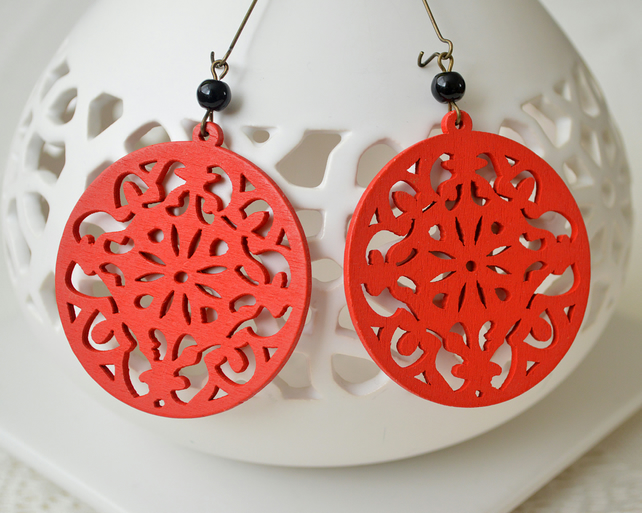 Red Filigree Wooden Earrings