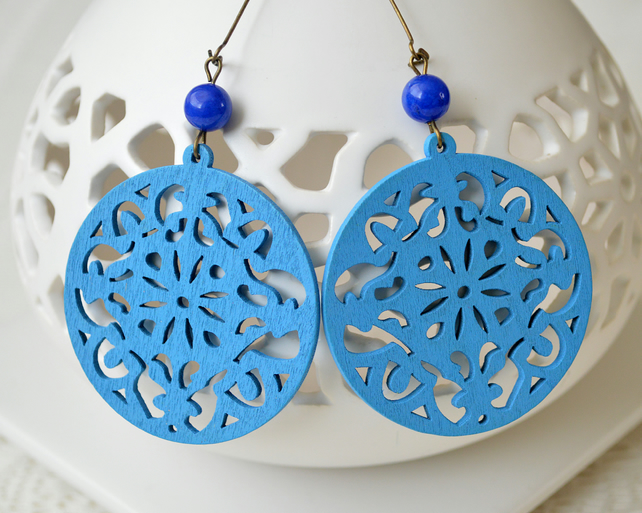 Blue Filigree Wooden Earrings