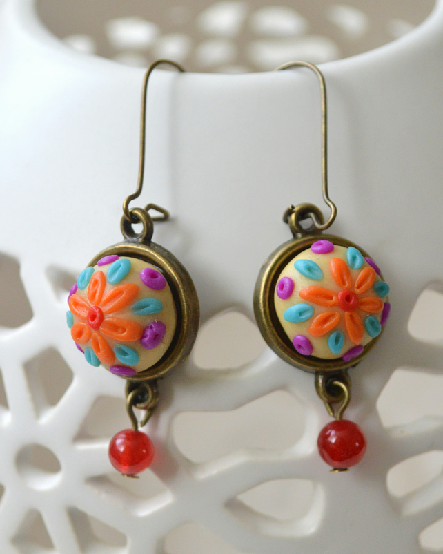 Polymer Clay Applique Earrings