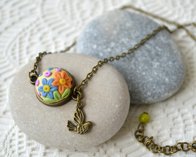 Polymer Clay Applique Pendant Necklace