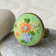 Polymer Clay Applique Ring