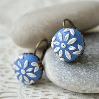 Blue and White Polymer Clay Earrings