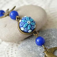 Polymer Clay Cabochon Bracelet in Blue Shades