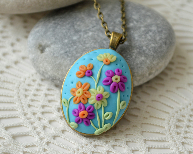 Sky Blue Polymer Clay Pendant