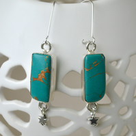 Long Earrings with Turquoise and Silver Stars