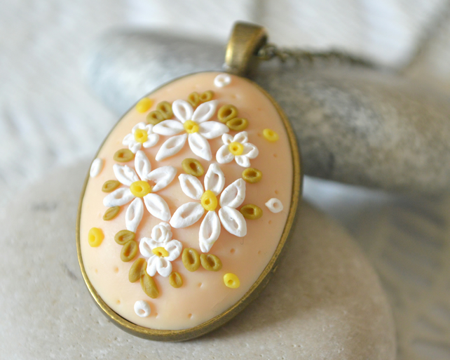 Polymer Clay Applique Daisy Pendant