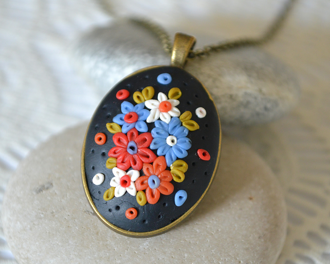 Polymer Clay Applique Pendant