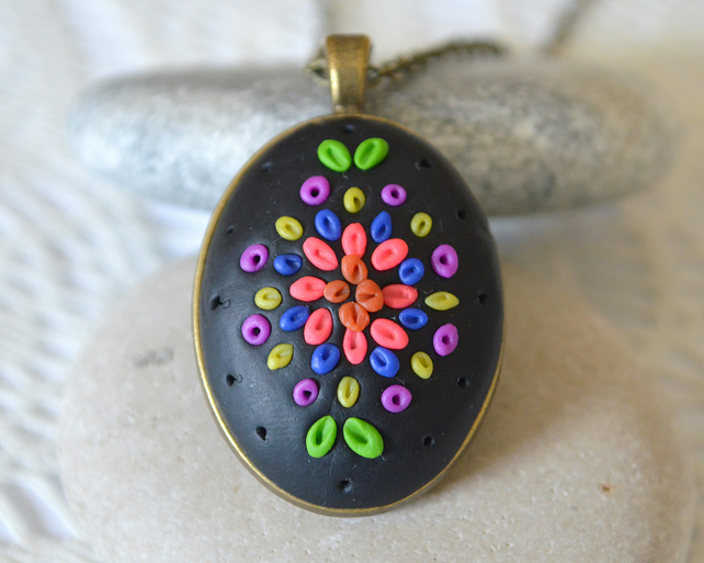 Bright Polymer Clay Applique Pendant