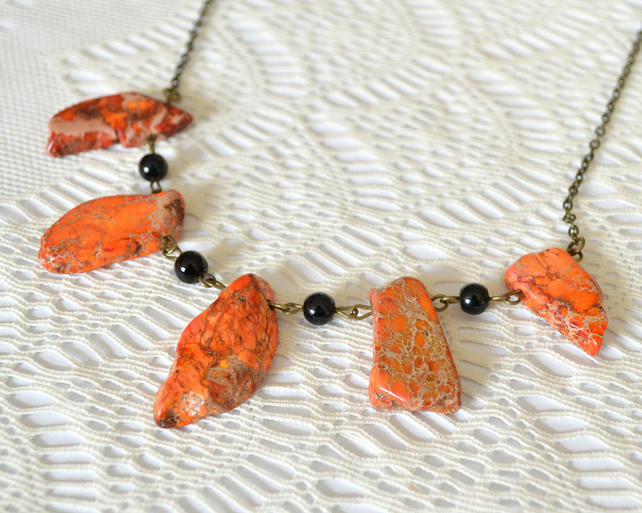Statement Orange Jasper Necklace