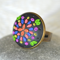 Bright Polymer Clay Applique Ring