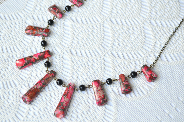 Statement Bib Necklace with Bright Pink Jasper Fan