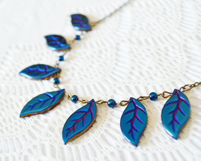Blue Hematite Leaf Statement Necklace