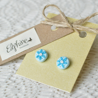 Blue & White Polymer Clay Stud Earrings